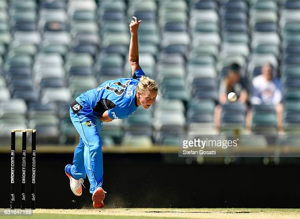 Sophie Devine of the Strikers bowls during the Women's Big Bash League match between the Perth Scorchers and the Adelaide Strikers at WACA on January...
