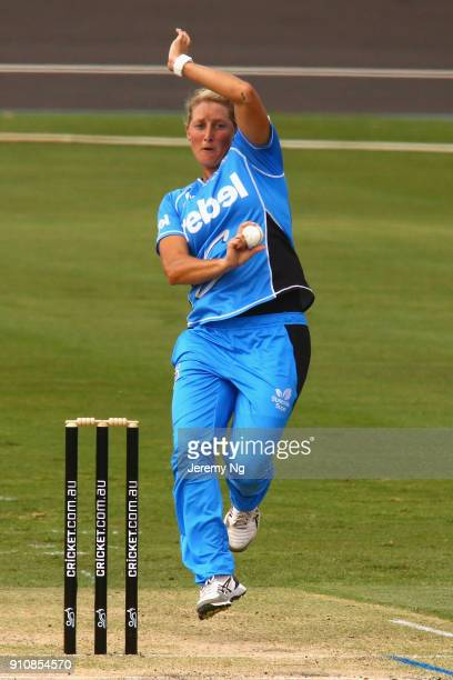Sophie Devine of the Strikers bowls during the Women's Big Bash League match between the Adelaide Strikers and the Sydney Sixers at Hurstville Oval...