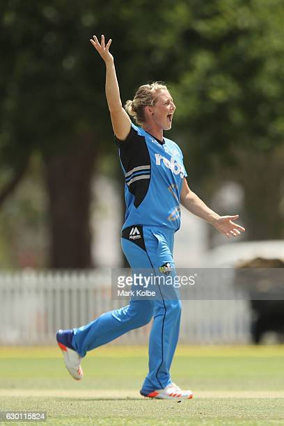 Sophie Devine of the Strikers celebrates taking the wicket of Stafanie Taylor of the Thunder during the WBBL match between the Strikers and Thunder...