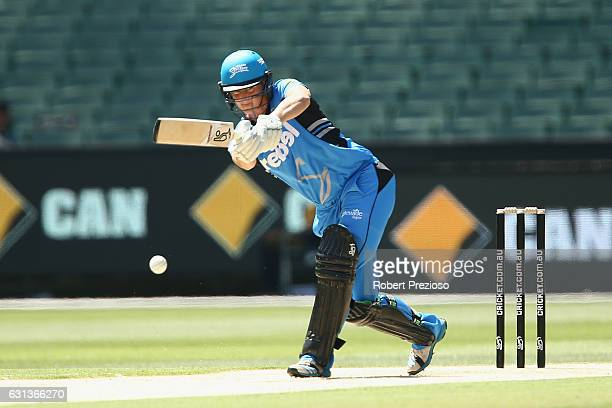 Sophie Devine of the Strikers plays a shot during the Women's Big Bash League match between the Melbourne Stars and the Adelaide Strikers at...