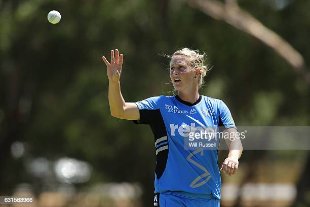 Sophie Devine of the Strikers prepares to bowl during the Women's Big Bash League match between the Adelaide Strikers and the Melbourne Stars at...