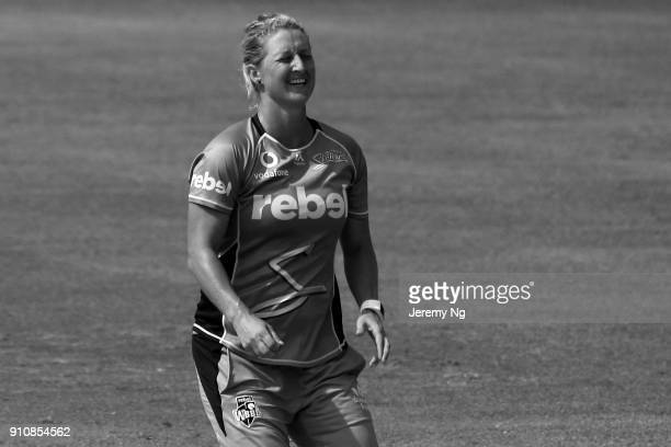 Sophie Devine of the Strikers reacts to a close chance during the Women's Big Bash League match between the Adelaide Strikers and the Sydney Sixers...