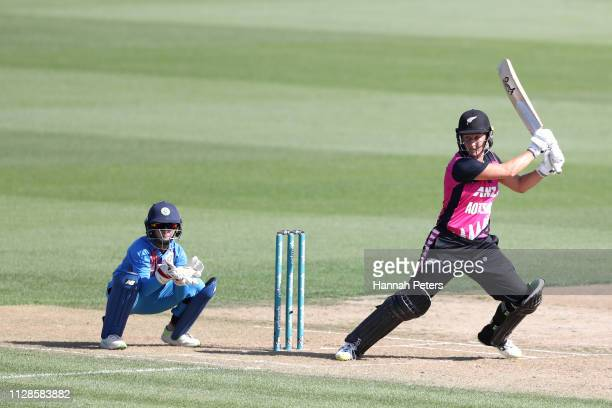 Sophie Devine of the White Ferns bats during the Women's International T20 Game 3 between New Zealand and India at Seddon Park on February 10 2019 in...