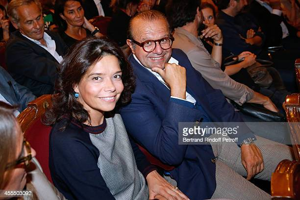 Sophie Douzal and Lawyer Herve Temime attend 'Un diner d'adieu' Premiere Held at Theatre Edouard VII on September 15 2014 in Paris France