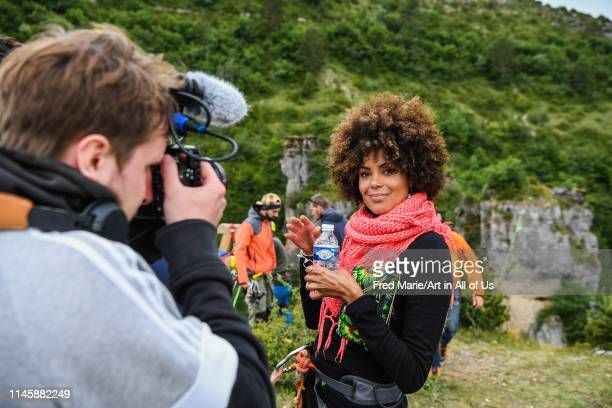 Sophie ducasse before a space net session from a cliff, Occitanie, Florac, France on July 2, 2017 in Florac, France.