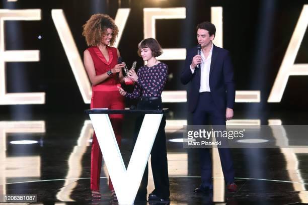 Sophie Ducasse Pomme and Julian Bugier attend the 35th 'Les Victoires De La Musique' Show At La Seine Musicale on February 14 2020 in...