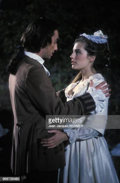 Sophie Duez sur le tournage du film 'Les prisonnières' en février 1985 France
