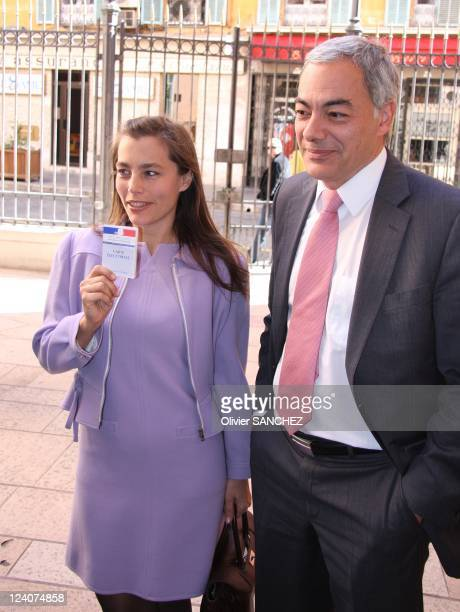 Sophie Duez voted for the second round of the municipal elections of Nice in Nice France on March 16 2008 The French actress is the fourth on the...