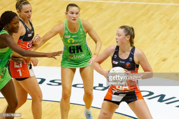 Sophie Dwyer of the Giants controls the ball during the Preliminary Final Super Netball match between the GWS Giants and West Coast Fever at...
