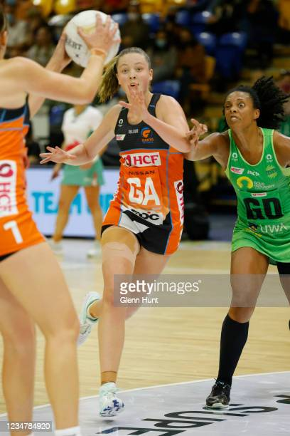 Sophie Dwyer of the Giants cuts through the key to receive a pass during the Preliminary Final Super Netball match between the GWS Giants and West...