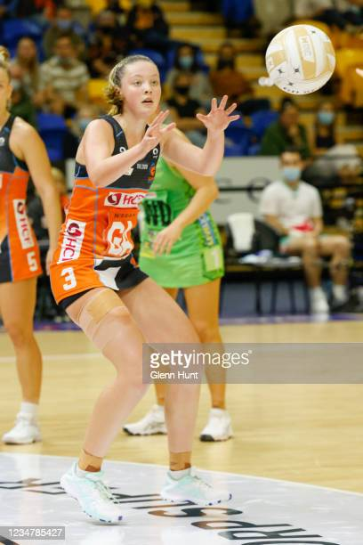 Sophie Dwyer of the Giants receives a pass during the Preliminary Final Super Netball match between the GWS Giants and West Coast Fever at University...