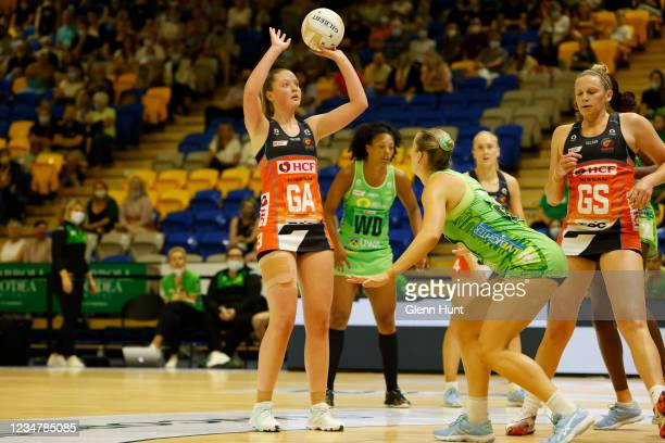 Sophie Dwyer of the Giants shoots the ball during the Preliminary Final Super Netball match between the GWS Giants and West Coast Fever at University...