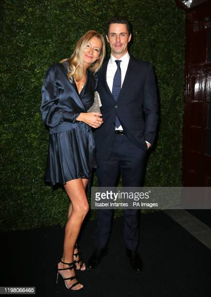 Sophie Dymoke and Matthew Goode arriving at the Charles Finch and Chanel pre-Bafta party at 5 Hertford Street in Mayfair, London. PA Photo. Picture...