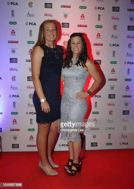 Sophie Ecclestone and Tammy Beaumont arrive for the NatWest PCA Awards at The Roundhouse on October 4 2018 in London England