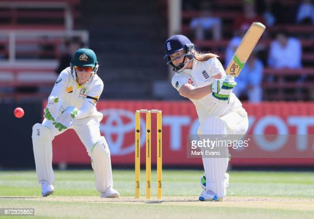 Sophie Ecclestone of England bats during day two of the Women's Test match between Australia and England at North Sydney Oval on November 10 2017 in...