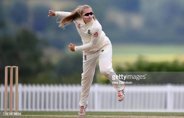 Sophie Ecclestone of England bowls during Day Three of the International Friendly match between England Women and Australia A Women at Millfield...