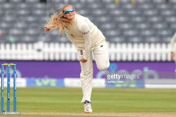 Sophie Ecclestone of England bowls on Day Two of the LV= Insurance Test Match between England Women and India Women at Bristol County Ground on June...