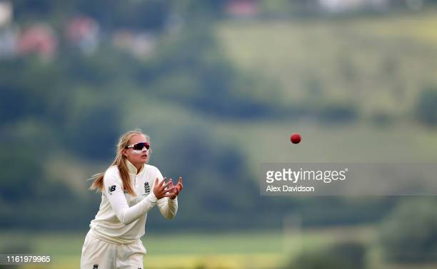 Sophie Ecclestone of England catches the ball during Day Three of the International Friendly match between England Women and Australia A Women at...