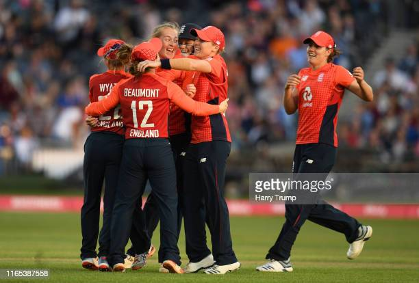 Sophie Ecclestone of England celebrates after taking the wicket of Meg Lanning of Australia during the 3rd Vitality Women's IT20 match between...