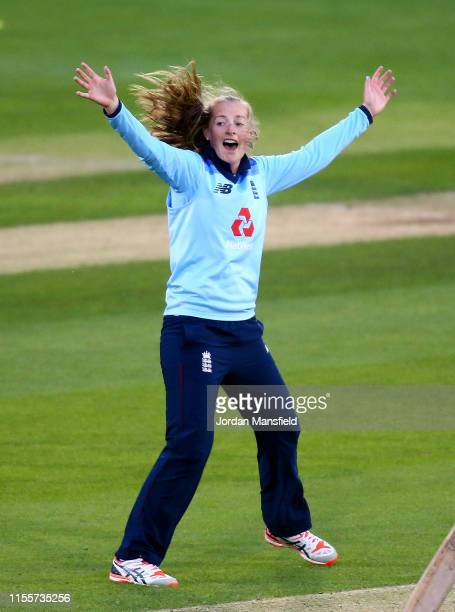 Sophie Ecclestone of England celebrates dismissing Chedean Nation of West Indies during the 3rd One Day International match between England Women and...