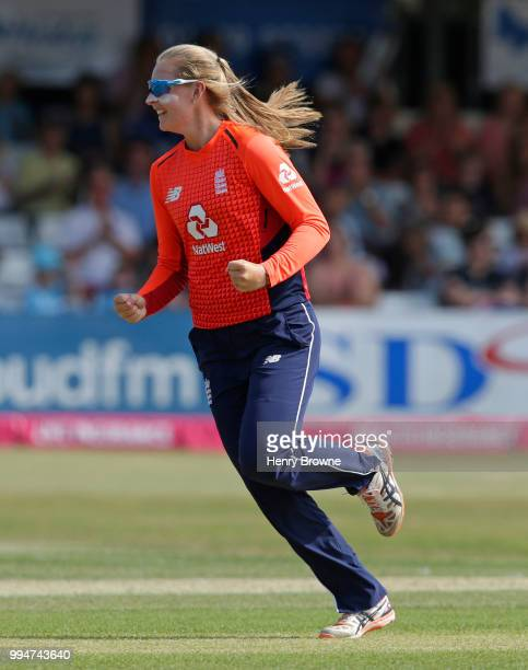 Sophie Ecclestone of England celebrates during the International T20 TriSeries Final between England and New Zealand at Cloudfm County Ground on July...