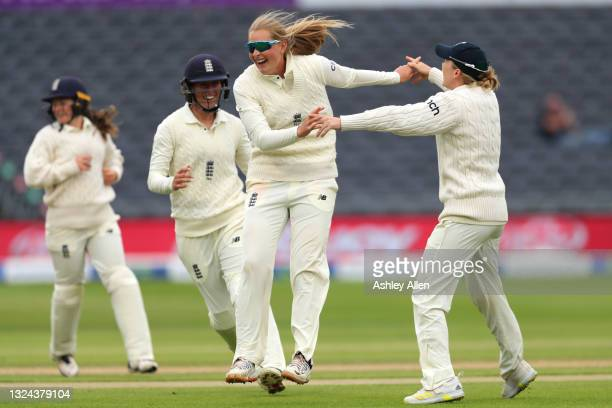 Sophie Ecclestone of England celebrates the wicket of India's Mithali Raj on Day four of the LV= Insurance Test Match between England Women and India...