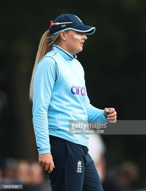 Sophie Ecclestone of England looks on during the 5th One Day International match between England and New Zealand at The Spitfire Ground on September...