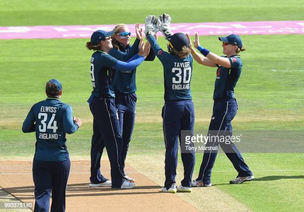 Sophie Ecclestone of England Women celbrates taking the wicket of Maddy Green of New Zealand Women during the 1st ODI ICC Women's Championship...