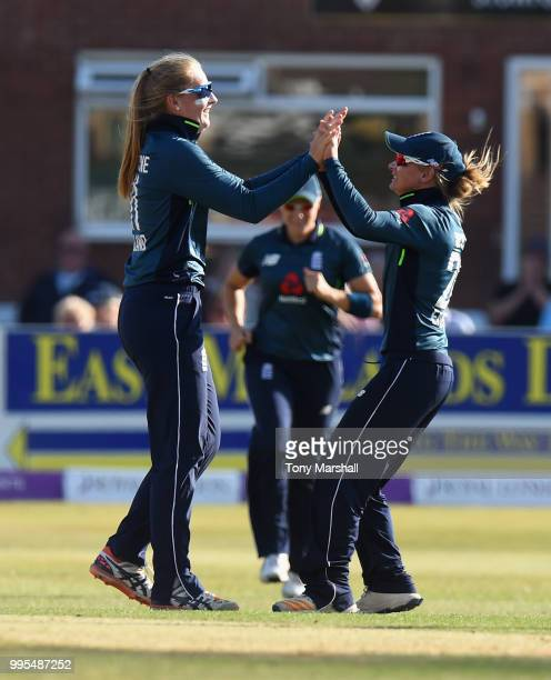 Sophie Ecclestone of England Women celebrates bowling out Amelia Kerr of New Zealand Women during the 2nd ODI ICC Women's Championship between...