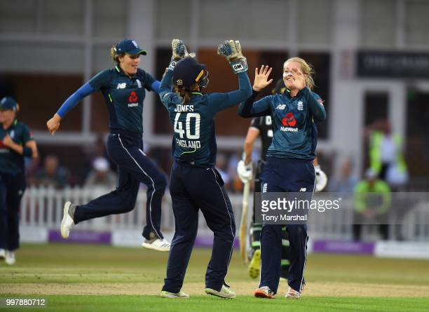 Sophie Ecclestone of England Women taking the wicket LBW of Bernadine Bezuiddenhout of New Zealand Women during the 3rd ODI ICC Women's Championship...