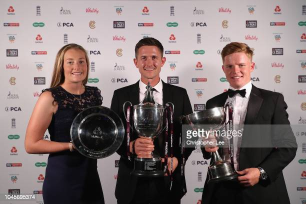 Sophie Ecclestone with her NatWest Womens' Player of the Summer Award Joe Denly with his NatWest PCA Players' Player of the Year and Ollie Pope of...