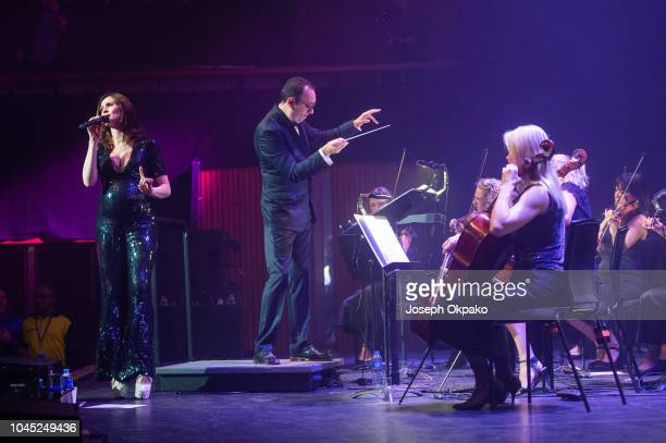 Sophie Ellis Bextor and Conductor Elliot Davis peform at The Royal Festival Hall on October 3 2018 in London England
