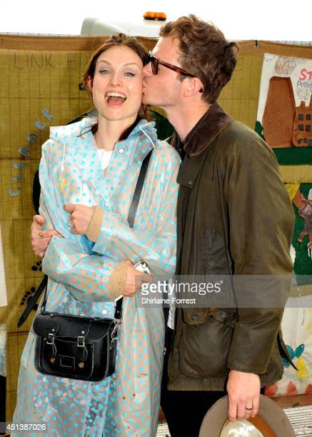 Sophie Ellis Bextor and husband Richard Jones of The Feeling seen backstage on Day Two of the Glastonbury Festival at Worthy Farm on June 28 2014 in...
