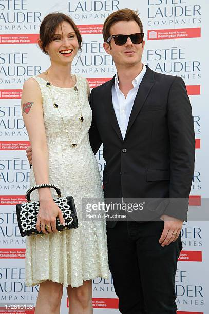 Sophie Ellis Bextor and Richard Jones attends the launch party for the Fashion Rules exhibition a collection of dresses worn by HRH Queen Elizabeth...