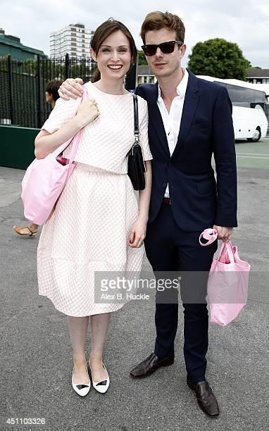 Sophie Ellis Bextor and Richard Jones seen leaving Wimbledon on June 23 2014 in London England