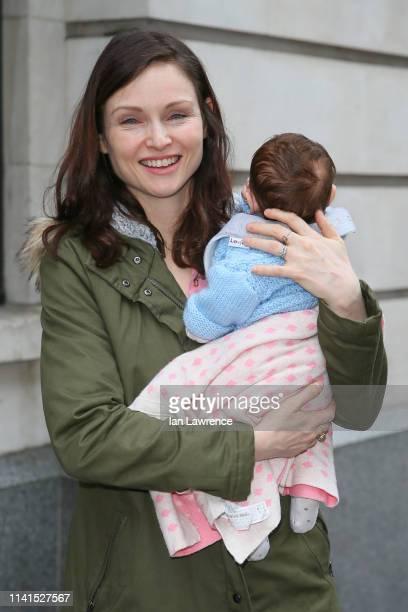 Sophie Ellis Bextor leaving BBC Radio 2 Studios with her baby son Mickey after promoting her new tour dates on April 09 2019 in London England