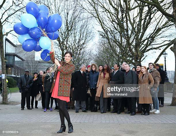Sophie EllisBextor dazzles at W channel launch setting off balloons for a nationwide diamond hunt on February 15 2016 in London England