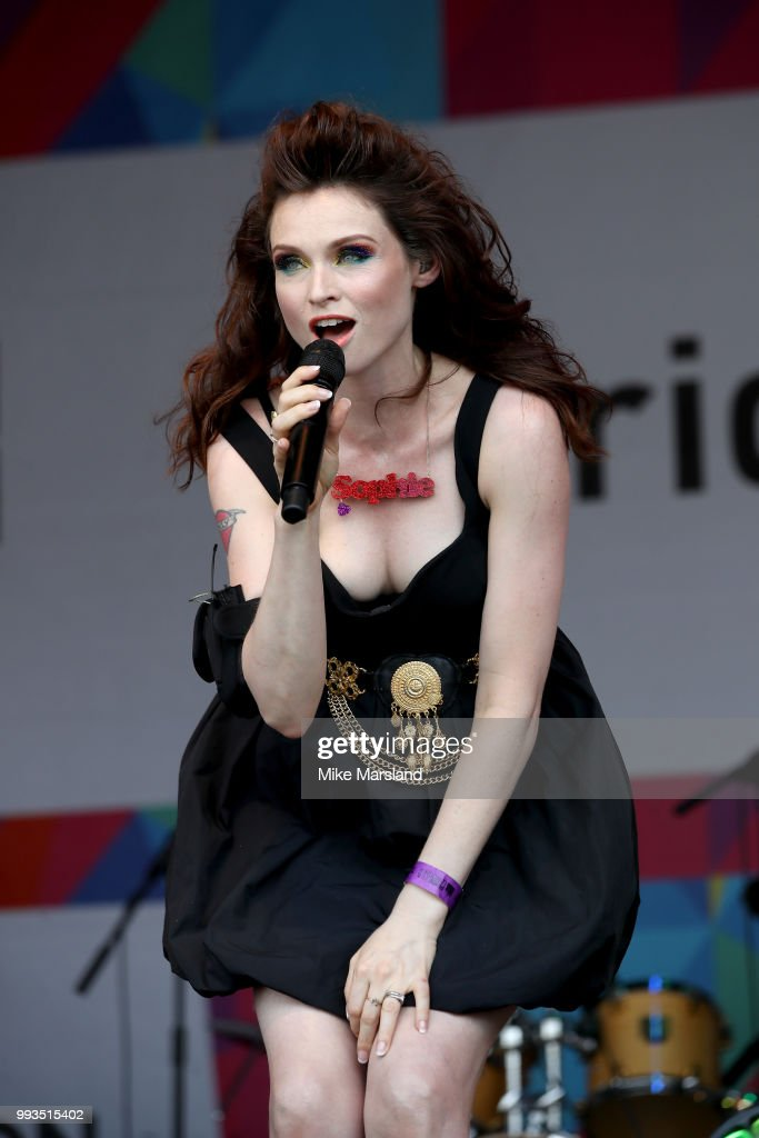 Sophie Ellis-Bextor performs on the Trafalgar Square Stage during Pride In London on July 7, 2018 in London, England. It is estimated over 1 million people will take to the streets and approximately 30,000 people and 472 organisations will join the annual parade, which is one of the world's biggest LGBT+ celebrations.