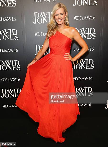 Sophie Falkiner arrives ahead of the David Jones Autumn/Winter 2016 Fashion Launch at David Jones Elizabeth Street Store on February 3 2016 in Sydney...