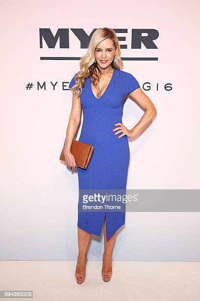 Sophie Falkiner arrives ahead of the Myer Spring 16 Fashion Launch at Hordern Pavilion on August 23 2016 in Sydney Australia