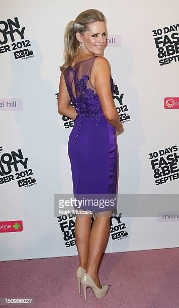 Sophie Falkiner poses during the 30 Days of Fashion Beauty Launch at Sydney Town Hall on August 30 2012 in Sydney Australia