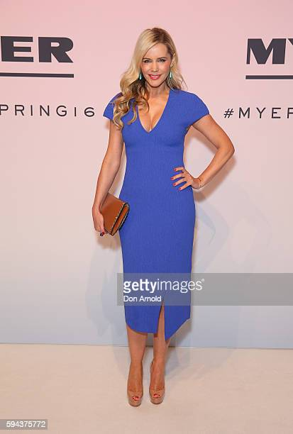 Sophie Falkiner poses on the red carpet during the Myer Spring 16 Launch at Hordern Pavilion on August 23 2016 in Sydney Australia