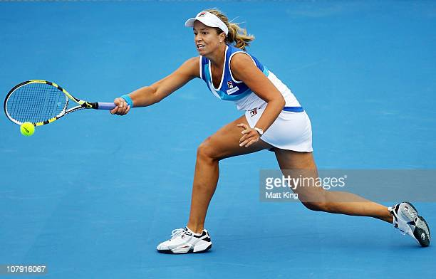 Sophie Ferguson of Australia plays a forehand during her 1st round qualifying match against Maria Irigoyen of Argentina during the Moorilla Hobart...