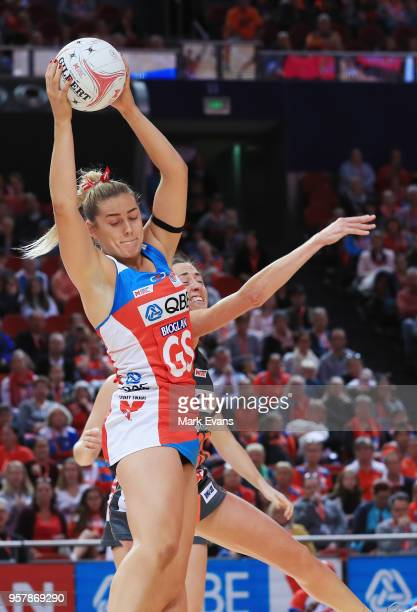 Sophie Garbin of the Swifts catches the ball during the round three Super Netball match between the NSW Swifts and Giants Netball at Qudos Bank Arena...