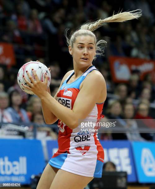Sophie Garbin of the Swifts looks topass the ball during the round 11 Super Netball match between the Swifts and the Fever at Quay Centre on July 14...