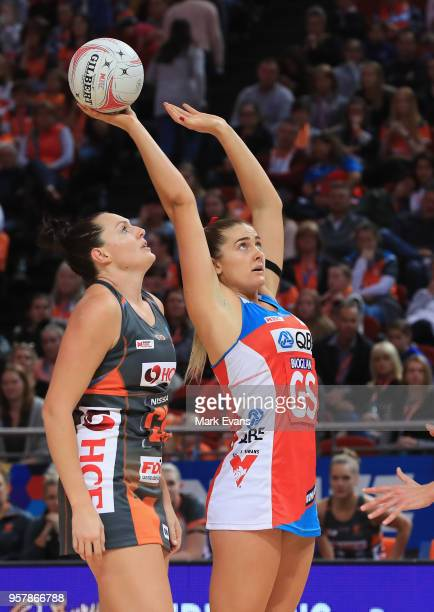 Sophie Garbin of the Swifts shoots during the round three Super Netball match between the NSW Swifts and Giants Netball at Qudos Bank Arena on May 13...