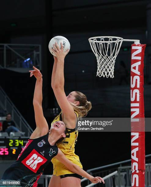 Sophie Garbin of the Western Sting catches the ball during the round four ANL match between the Fury and the Sting at Hisense Arena on March 11 2017...