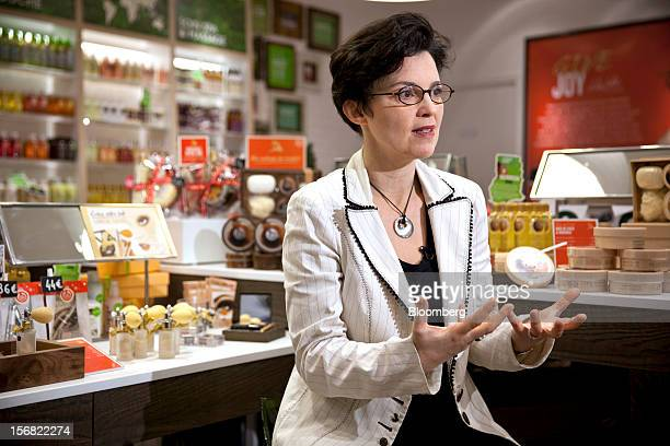 Sophie Gasperment chief executive officer of the Body Shop International Plc owned by L'Oreal SA gestures as she speaks during a Bloomberg Television...