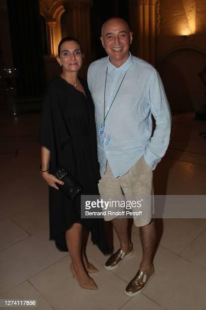 """Sophie Gassmann and Jean-Pierre PJ Stephan attend the """"Il Medico Della Peste"""" Franck Sorbier Haute Couture Pieces Uniques AW 2020/21 Maitre d'art..."""
