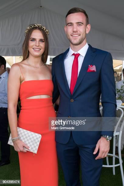 Sophie Gillard and James Kain attend Magic Millions Raceday on January 13 2018 in Gold Coast Australia